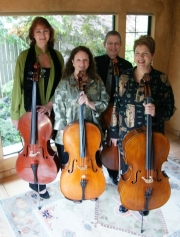 All of us standing with cellos